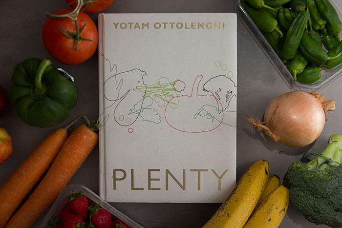 Plenty by Yotam Ottolenghi. Book alongside plenty of vegetables and fruits